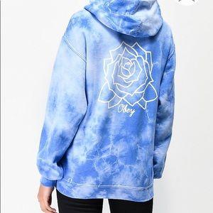 Baby blue tie dye obey hoodie